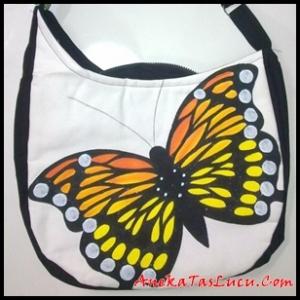 tas kupu-kupu, tas maika etnik, aneka tas lucu, maika butterfly painting, tas wanita, tas handmade